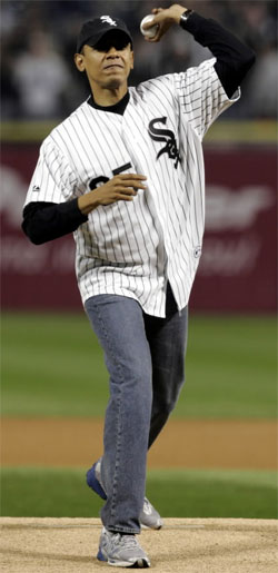 barack obama throwing first pitch