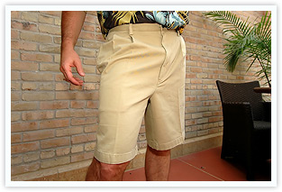 over-the-knee, double-pleated shorts