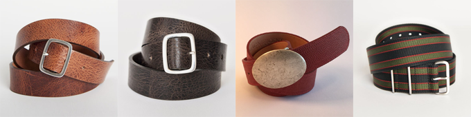 Left to Right: 300-Year Belt 'Classic' Edition, 300-Year Belt 'High Plains Noir' Edition, Game-Day Belt, Secret Agent Belt