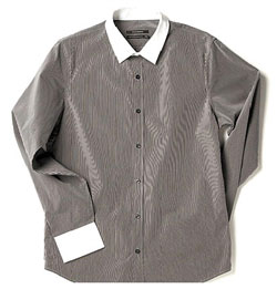 Banker's Stripe Shirt w/ Contrast Collar via Club Monaco, $99.00