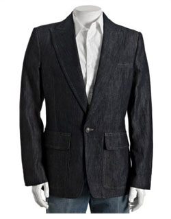 D.Squared dark wash denim one-button blazer via bluefly.com, $1068.00