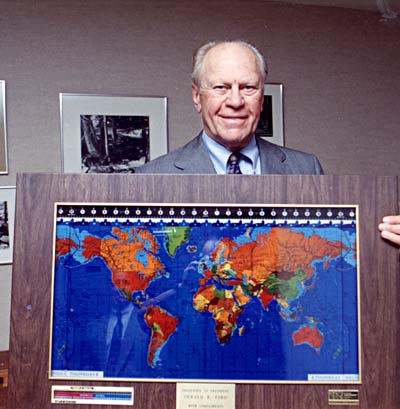 Gerald Ford holding a 'Real Wood' Geochron