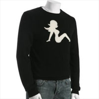 Black Cashmere Mudflap Girl Intarsia Sweater via Bluefly, $359.00