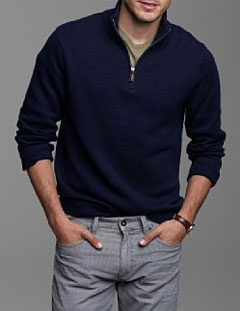 Cotton-cashmere half-zip sweater via J. Crew, $85.00