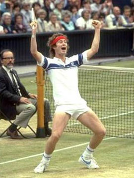 John McEnroe winning his first Wimbledon in 1981
