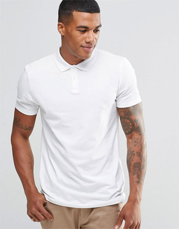 New Look polo. Not endorsed: tattoos and buttoning approach via ASOS, $13.00