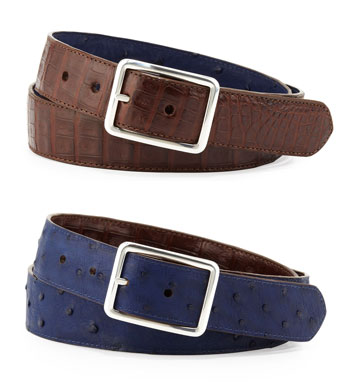 W.KLEINBERG Ostrich/Croc Reversible Belt, Navy/Brown via Bergdorf Goodman, $374.00