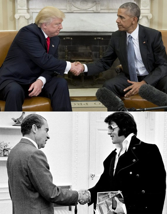 The Trump-Obama Handshake. First Rule of President's Club: Don't be Nixon.